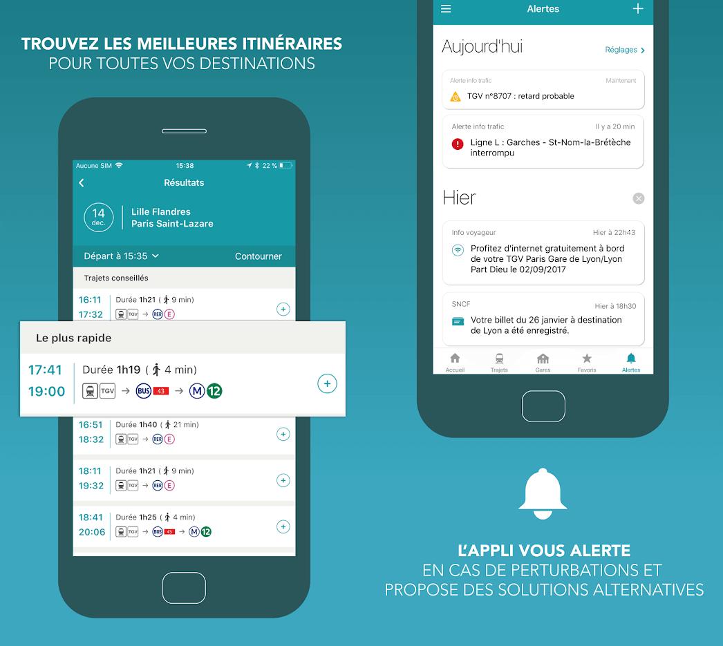 Capture d'écran SNCF iOS