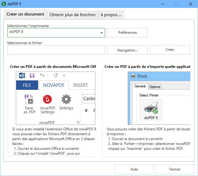 Capture d'écran doPDF