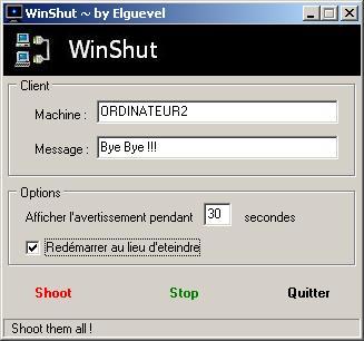 Capture d'écran WinShut