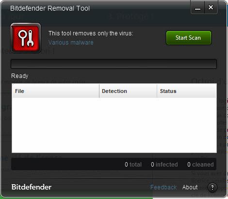 Capture d'écran Bitdefender Removal Tool