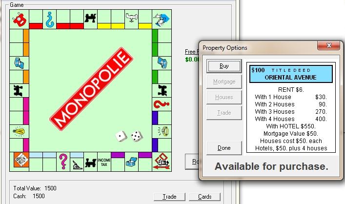 Capture d'écran Monopolie