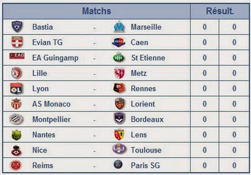 Capture d'écran Suivi Ligue 1 2014-2015