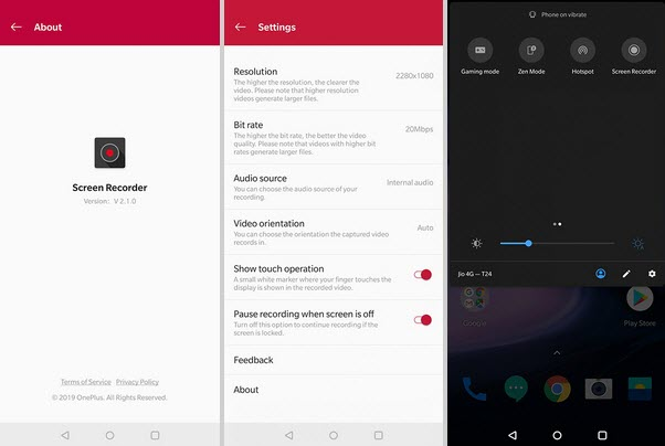 Capture d'écran OnePlus Screen Recorder
