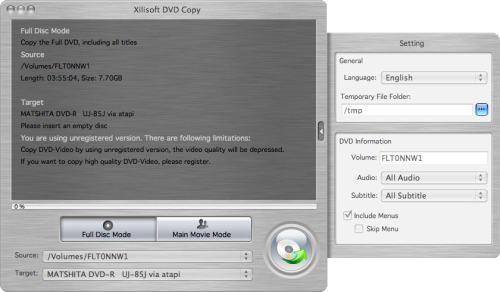 Capture d'écran Xilisoft Copie DVD pour Mac