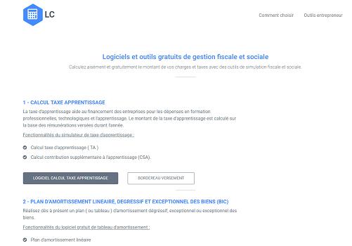 Capture d'écran Logiciels et outils gratuits de gestion fiscale et sociale