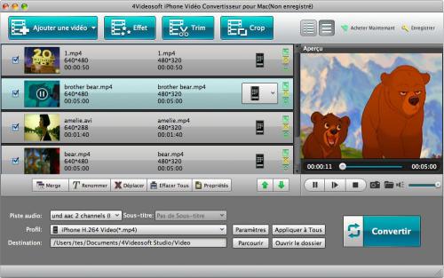 Capture d'écran 4Videosoft iPhone Vidéo Convertisseur pour Mac