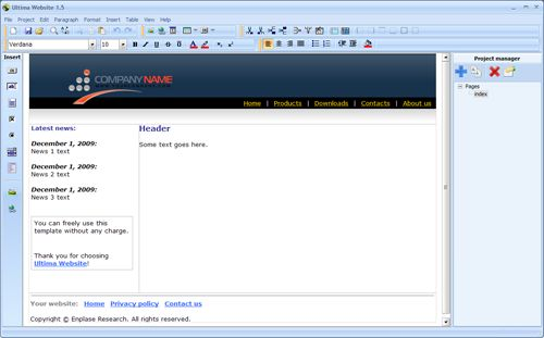 Capture d'écran Ultima Website