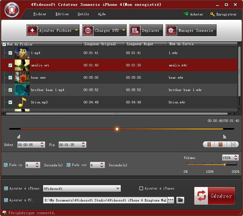 Capture d'écran 4Videosoft Créateur Sonnerie iPhone 4