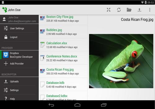 Capture d'écran BoxCryptor Android