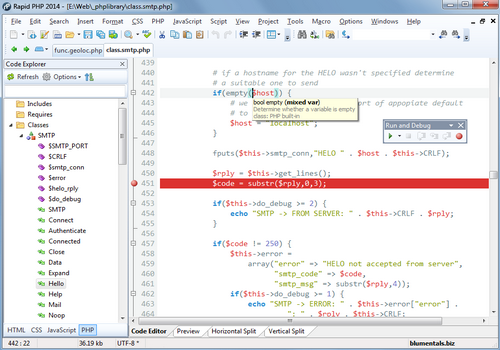Capture d'écran Rapid PHP 2014