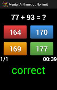 Capture d'écran Calcul mental Android