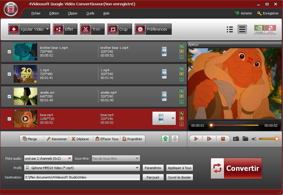 Capture d'écran 4Videosoft Google Vidéo Convertisseur