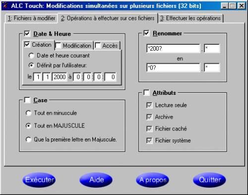 Capture d'écran ALC Touch