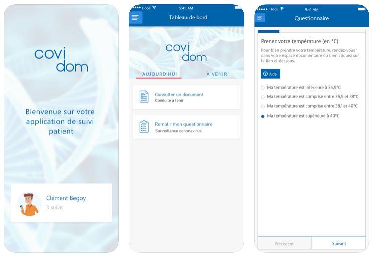 Capture d'écran Covidom iOS