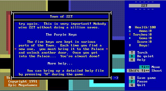 Capture d'écran ZZT