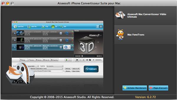 Capture d'écran Aiseesoft iPhone Convertisseur Suite pour Mac