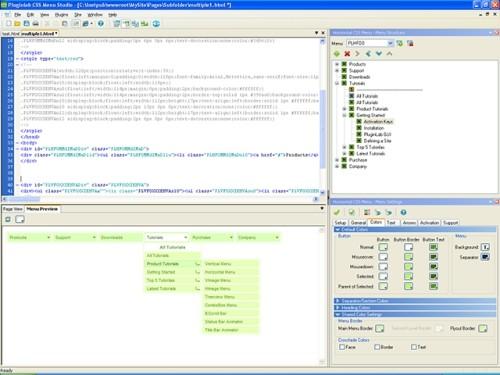 Capture d'écran CSS Menu Studio