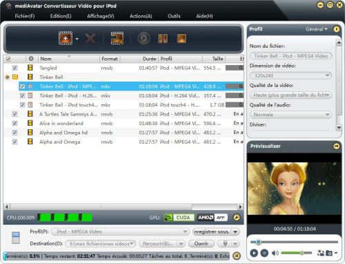 Capture d'écran mediAvatar Convertisseur Vidéo pour iPod