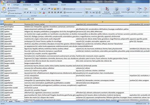 Capture d'écran Conjugation Verblexika Database V1.3