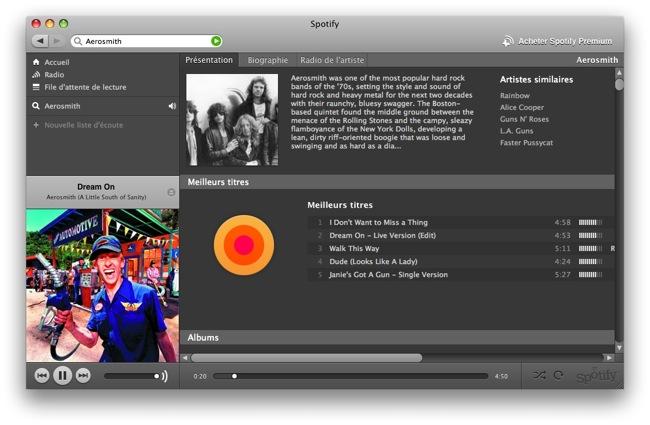 Capture d'écran Spotify Mac