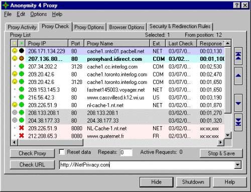 Capture d'écran Anonymity 4 Proxy – A4Proxy