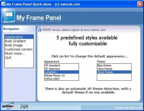 Capture d'écran My Frame Panel ActiveX