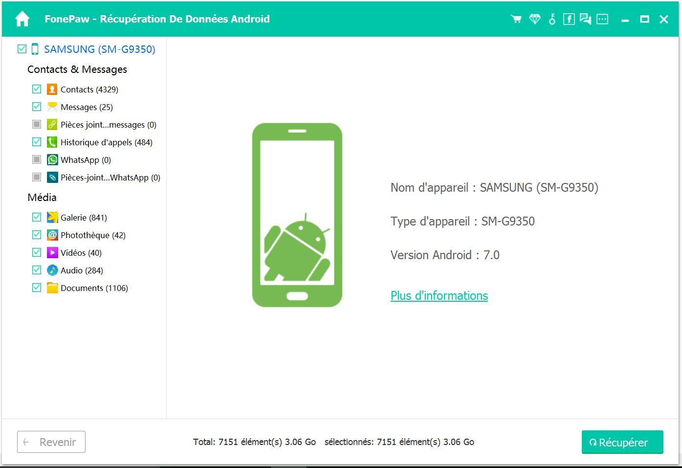 Capture d'écran FonePaw – Récupération De Données Android pour Mac