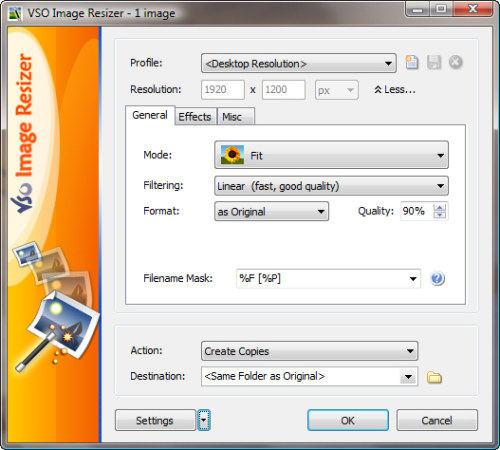 Capture d'écran Image Resizer by VSO