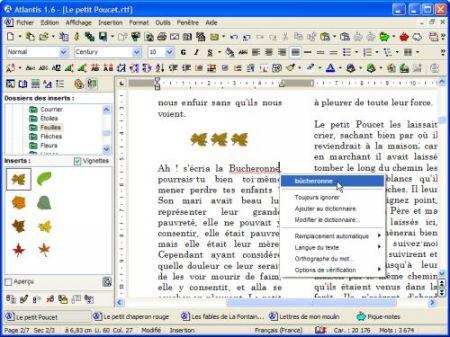 Capture d'écran Traitement de texte Atlantis