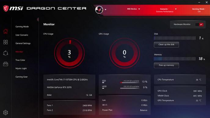 Capture d'écran Dragon Center