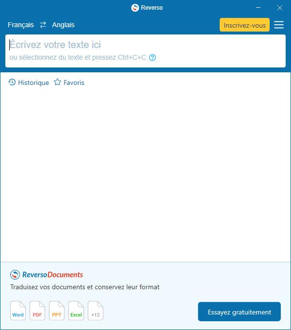 Capture d'écran Reverso Traduction