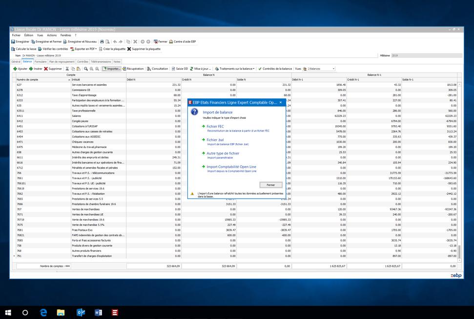 Capture d'écran EBP Etats Financiers