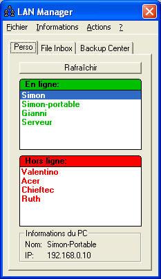 Capture d'écran LAN Manager