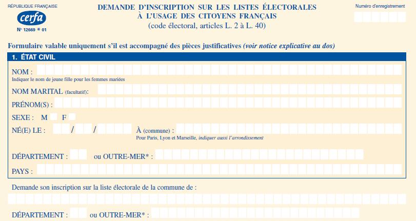 Capture d'écran Formulaire d'inscription sur les listes éléctorales