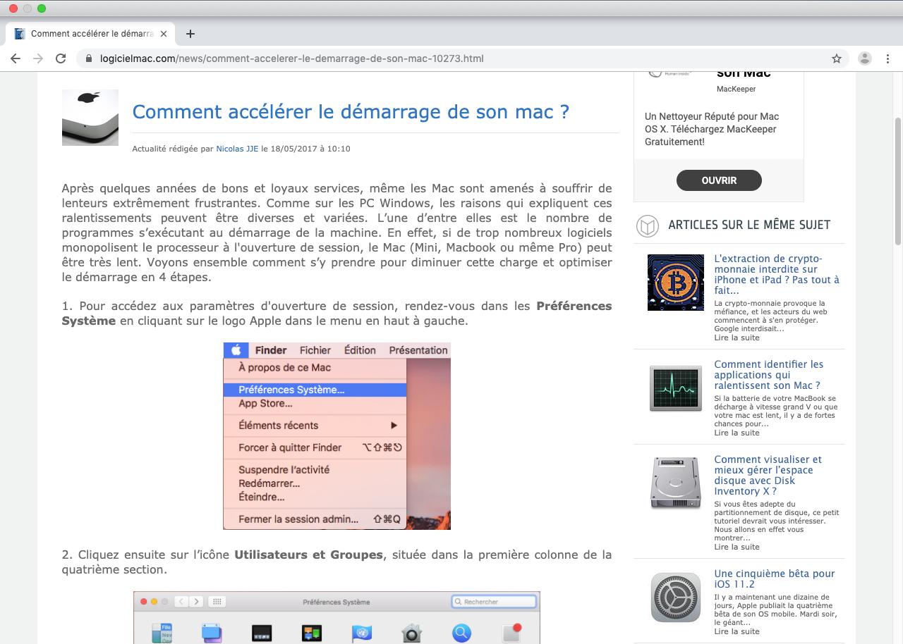 Capture d'écran Chromium Mac