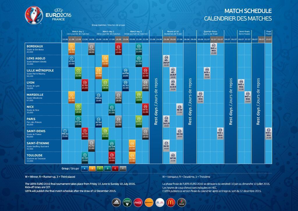 Capture d'écran Calendrier Euro 2016
