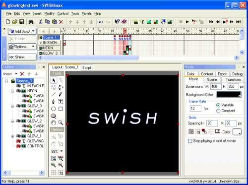 Capture d'écran SWiSHmax