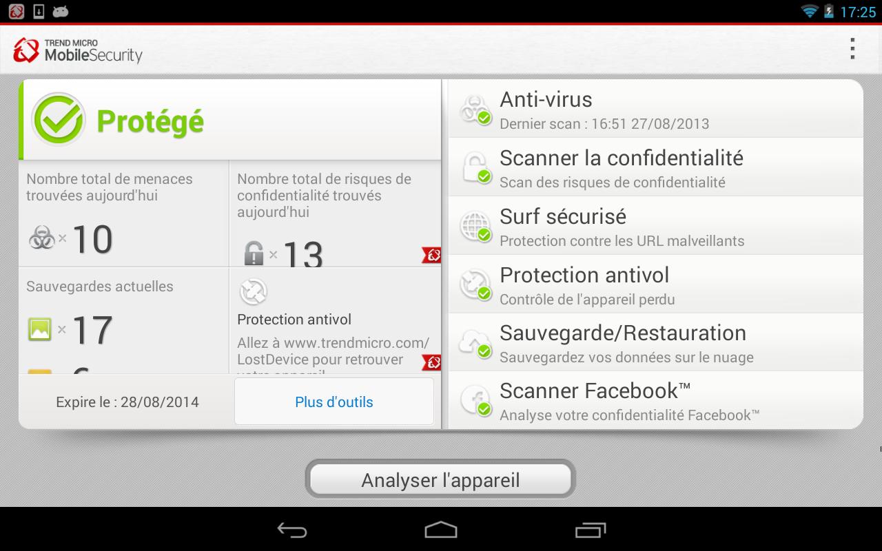 Capture d'écran Trend Micro Mobile Security