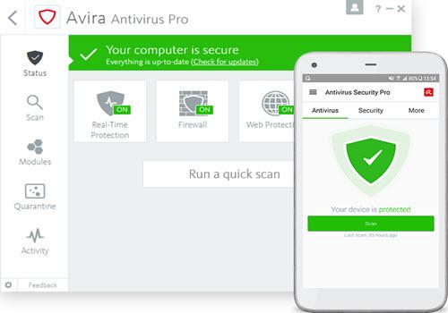 Capture d'écran Avira Antivirus Pro