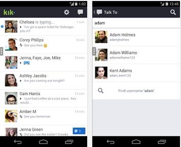 Capture d'écran Kik Messenger Android