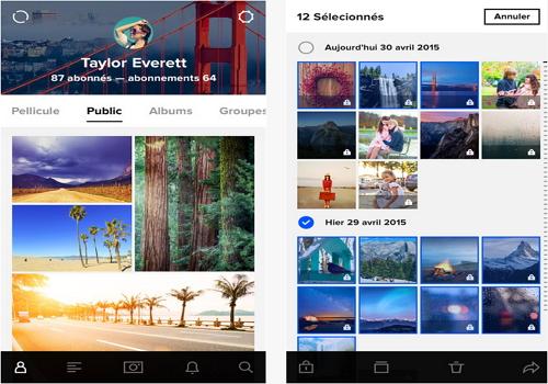 Capture d'écran Flickr iOS