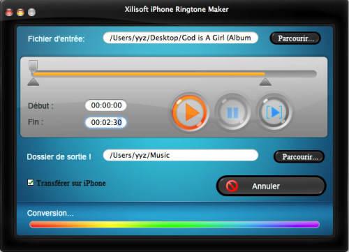 Capture d'écran Xilisoft Créateur Sonnerie iPhone Mac