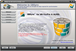 Capture d'écran DBSync for MS FoxPro & MySQL
