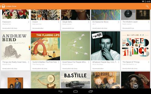 Capture d'écran Google Play Musique