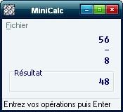 Capture d'écran MiniCalc
