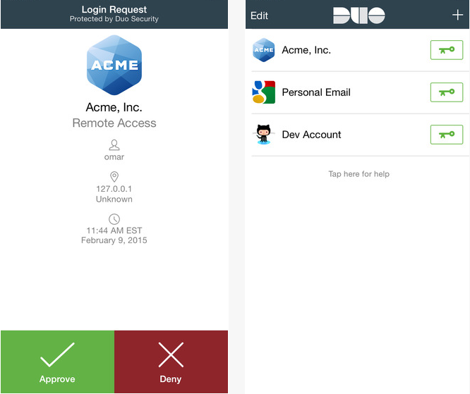 Capture d'écran Duo Mobile iOS
