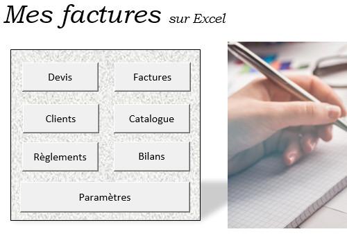 Capture d'écran Mes factures sur Excel – 2020