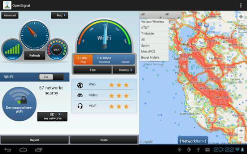 Capture d'écran Cartes 3G/4G/WiFi et Speedtest