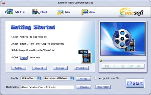 Capture d'écran Emicsoft M2TS Convertisseur pour Mac