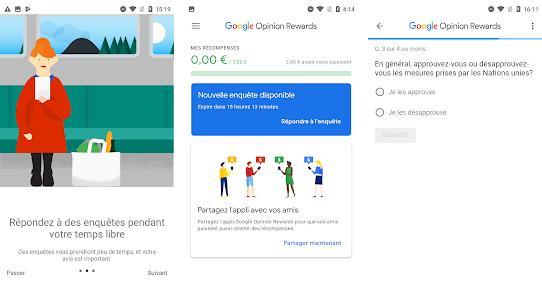 Capture d'écran Google Opinion Rewards Android